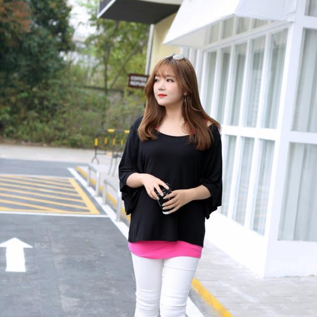 Set áo thun big size cặp áo ngoài màu đen áo trong màu hồng size đại 80-95kg