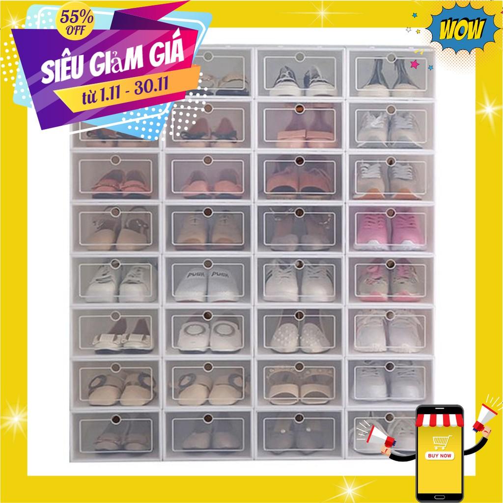 Hộp đựng giày nhựa mica trắng( có sẵn giá tốt)
