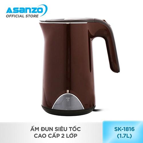 [Nhập ASANZOT7 giảm 10%] Ấm Đun Siêu Tốc cao cấp 2 lớp Asanzo SK-1816 (1.7 lít)