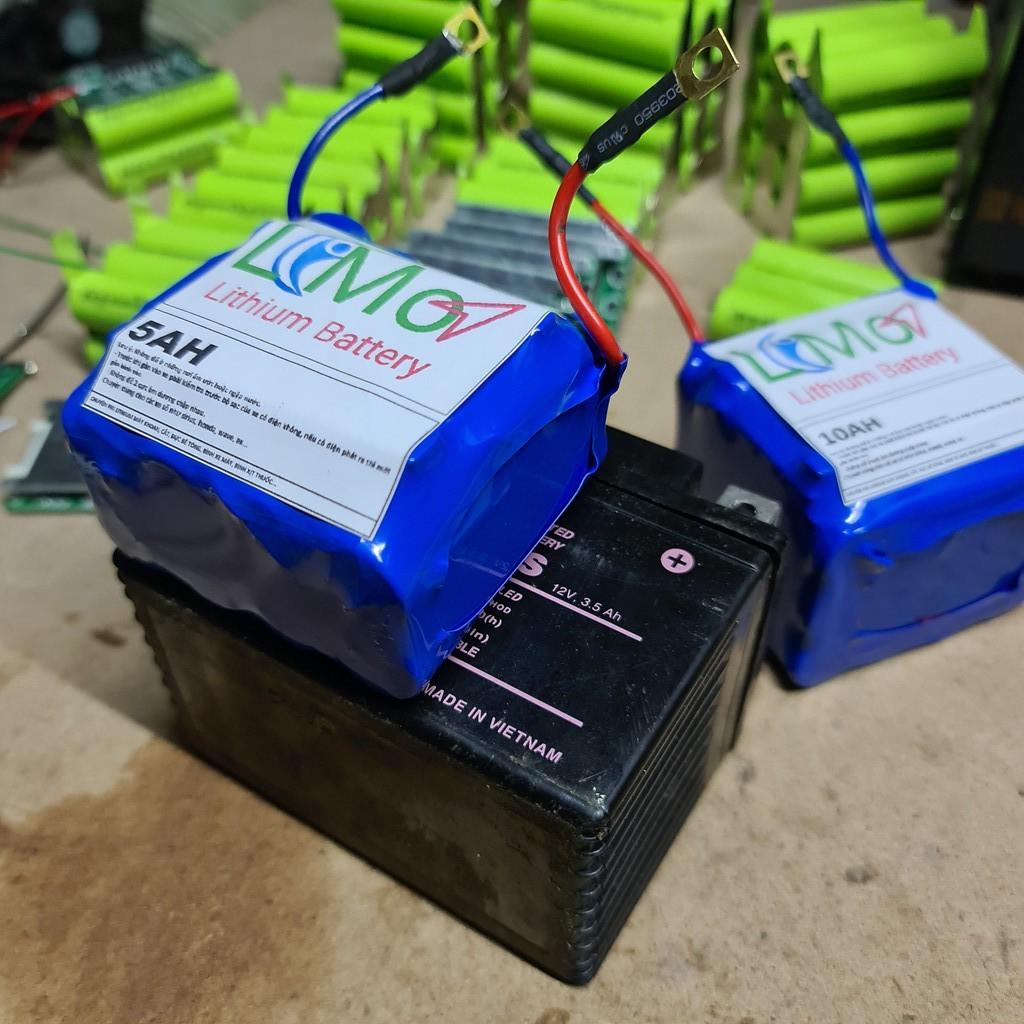 LIMO - Khối pin Lithium thay bình acquy xe máy.(Khối 5AH). Bình acquy kích đề xe máy. Bình pin Lithium lon 12v - LIMO