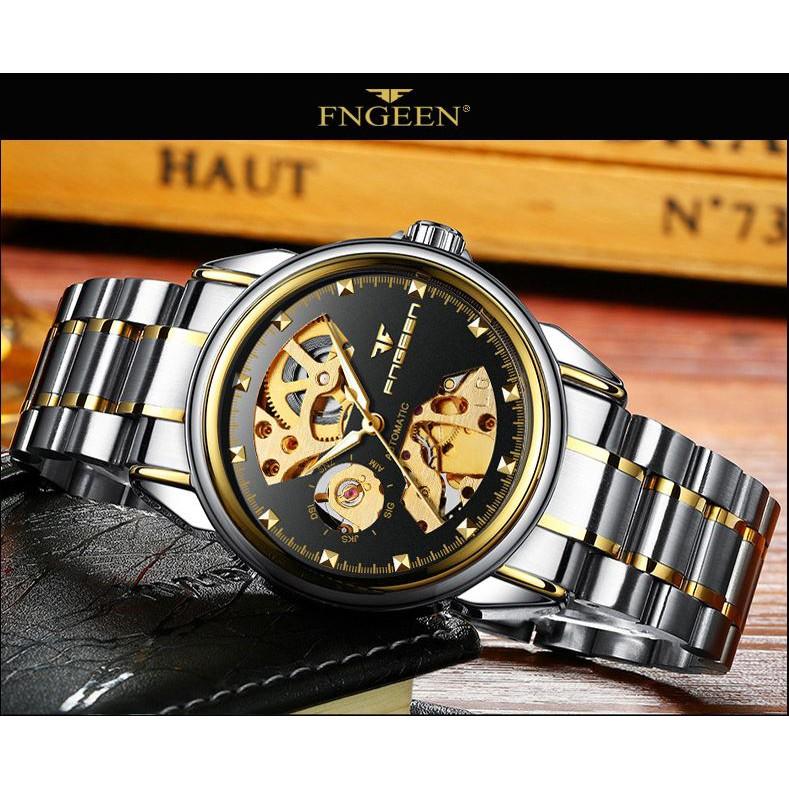 Đồng hồ cơ nam lộ máy FNGEEN chính hãng tuyệt đẹp, thiết kế lịch lãm, mạnh mẽ, phong cách hiện đại ( Mã: FC06)