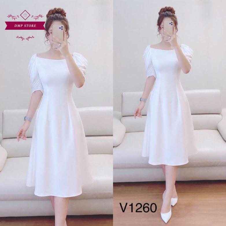4224070105 - (Hàng thiết kế) Váy đầm trắng trơn cổ vuông SKU 0260 tinh khôi