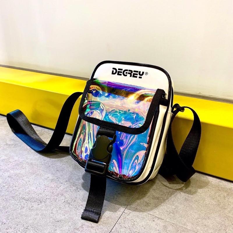 Túi đeo chéo Degrey trắng - đen ( Ảnh thật )