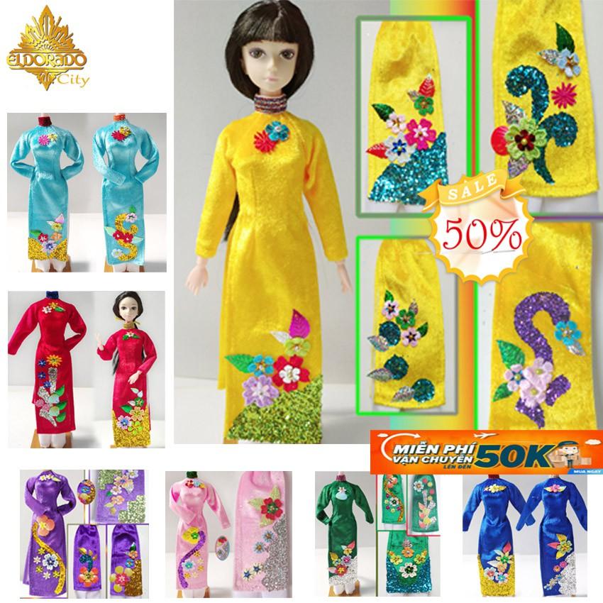 Áo dài búp bê nhiều màu sắc, áo dài nhung có vẻ nổi các họa tiết