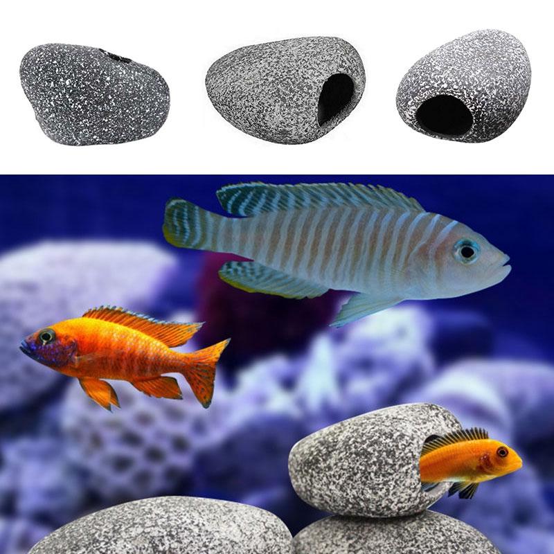 2019 Hot Selling Aquarium Ceramic Rock Cave Stone Decoration For Cichlids Fish Tank 1 Pc