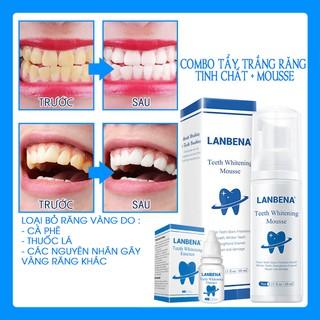 [Làm Sạch Răng] Combo 1 Tinh Chất Tẩy Trắng Răng + 1 Mousse Trắng Răng Vệ Sinh Răng 2 in 1 LANBENA