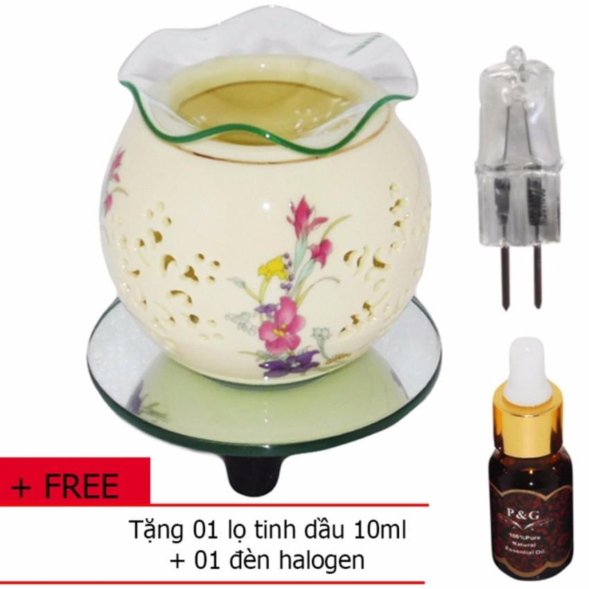 Đèn xông tinh dầu kiêm đèn ngủ bằng điện FL 01TT + tặng 01 lọ tinh dầu 10ml và 01 đèn halogen