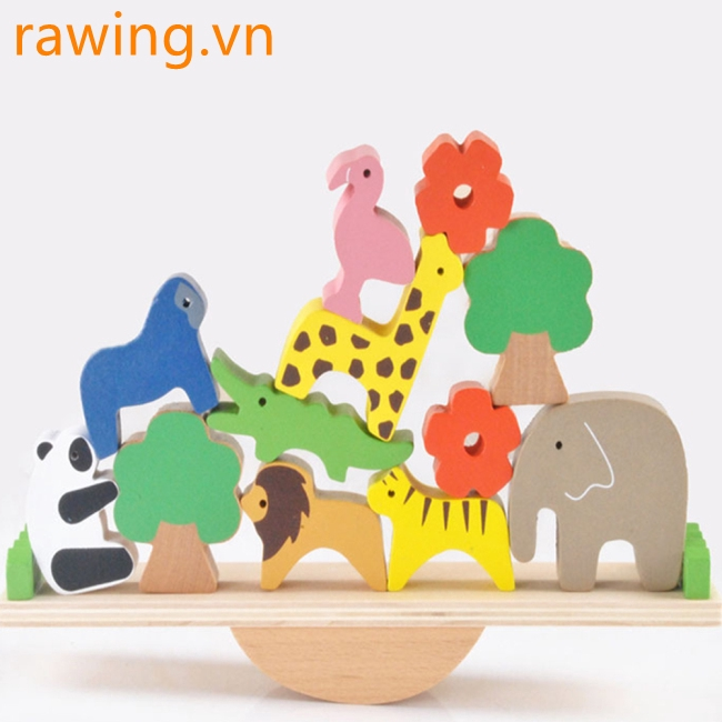 Wooden Cartoon Forest Animal Seesaw Kids Early Educational Balance Blocks Toy