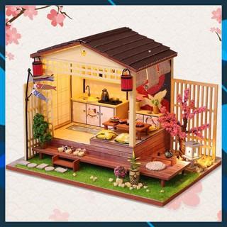 Mô hình nhà búp bê gỗ DIY Nhà búp bê lắp ghép có Đèn Led Mẫu Quán SuShi Nhật Bản Toy World thumbnail