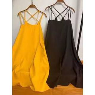 Đầm maxi 2 dây đan lưng chất đũi xước vải mềm không nhăn mặc siêu mát form rộng dáng dài, MẪU HOT 2021