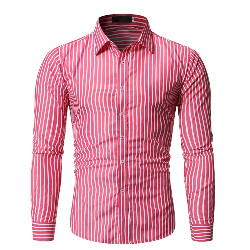 2019 Autumn Men's New Business Striped Casual Long-sleeved Shirt