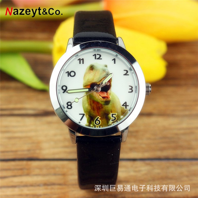 New dinosaur children's watch cartoon animal luminous belt quartz watch