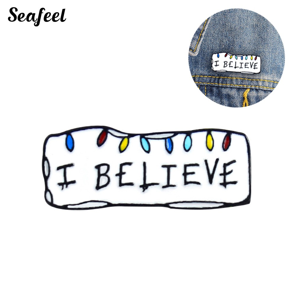 SF I BELIEVE Enamel Letters Brooch Pin Denim Jacket Collar Bag Hat Badge