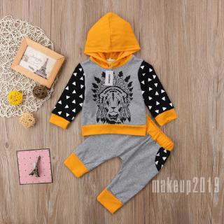 Mu♫-2Pcs Newborn Toddler Baby Boy Kids Clothes Romper T-shirt Tops+Pants Outfits Set