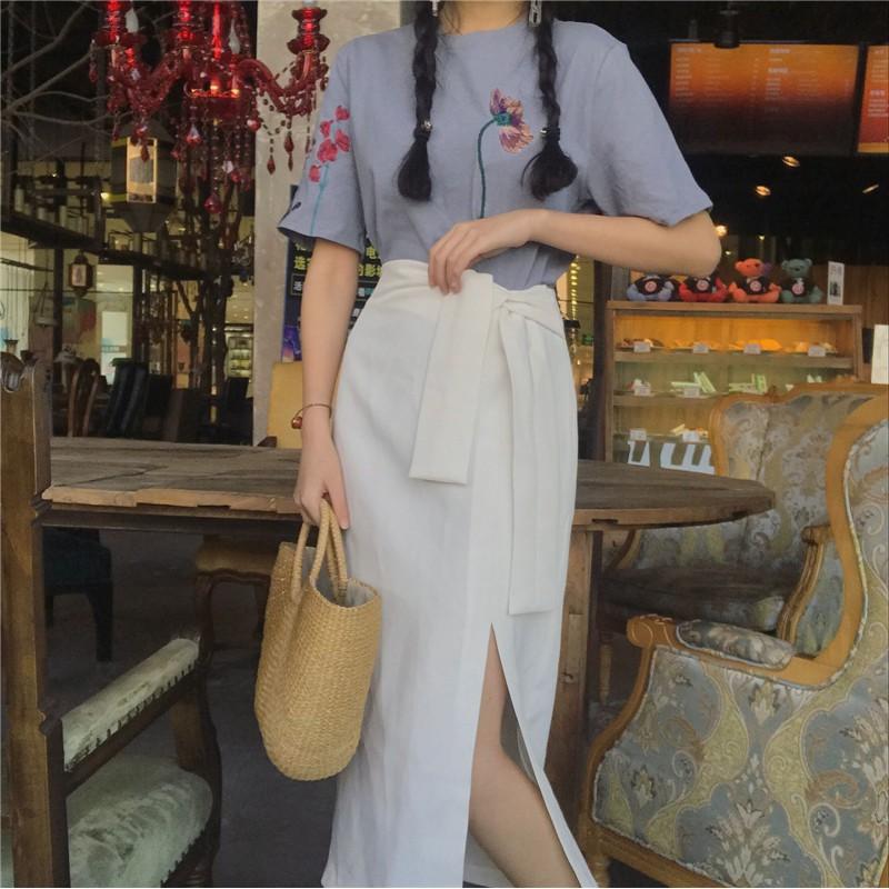 [ORDER] Chân váy midi xẻ tà tôn dáng