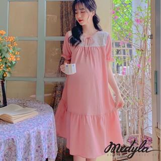 MEDYLA - Váy bầu mùa hè đũi tằm hồng cực xinh cho bầu đi chơi, du lịch - VS667 thumbnail