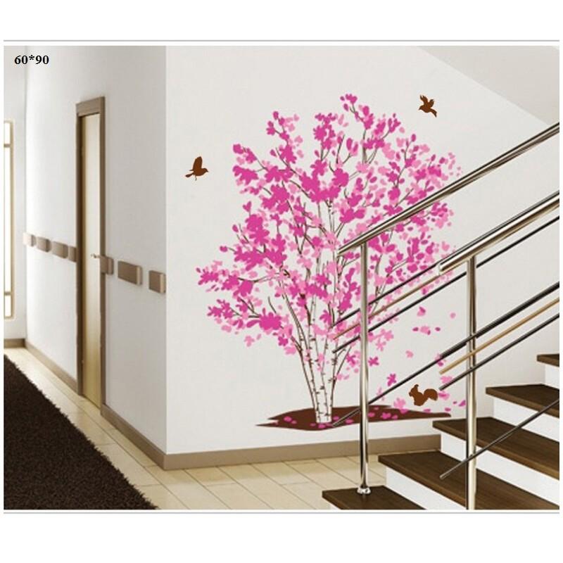 Decal dán tường cây hồng chim bay