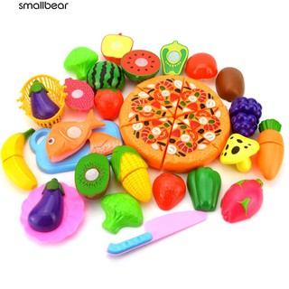 💮🐬24Pcs/Set Fruit Vegetable Pizza Preschool Kid Role Play Kitchen Cutting Toy