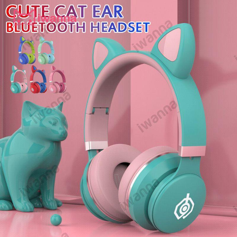 Tai Nghe Bluetooth Không Dây Chống Ồn Hình Tai Mèo Dễ Thương