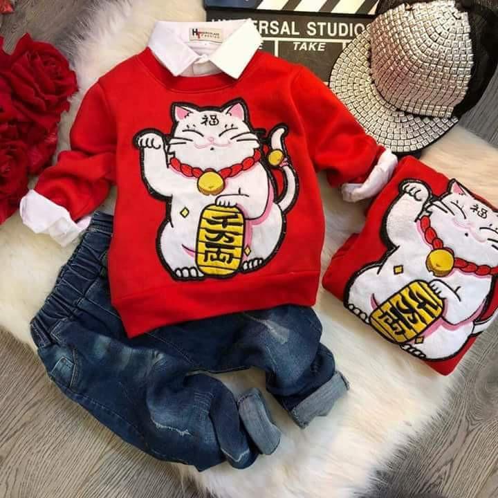 Áo mèo thần tài dài tay lót nỉ bông loại 1 cho mẹ và bé - 2592674 , 832464423 , 322_832464423 , 100000 , Ao-meo-than-tai-dai-tay-lot-ni-bong-loai-1-cho-me-va-be-322_832464423 , shopee.vn , Áo mèo thần tài dài tay lót nỉ bông loại 1 cho mẹ và bé