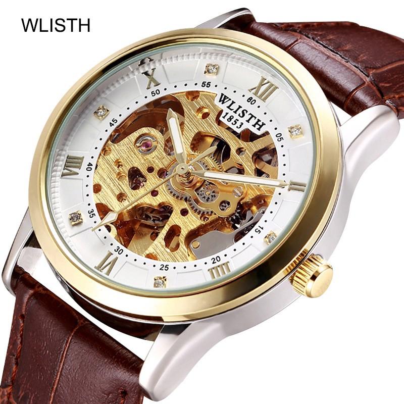Đồng hồ nam WLISTH 1003 lộ máy cơ automatic dây da/ dây thép