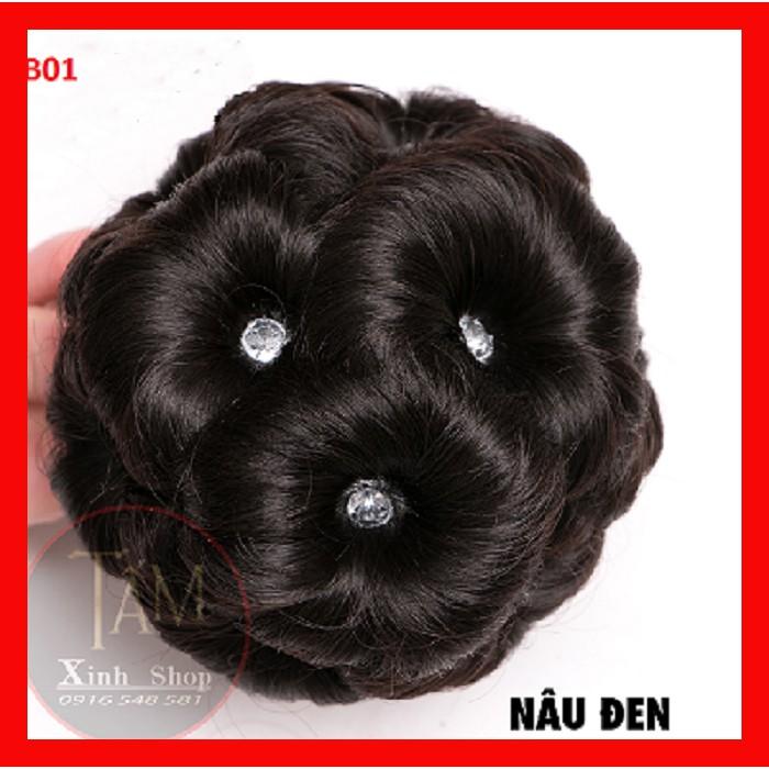Búi tóc giả đẹp thời trang trung niên : BÚI HOA ĐÍNH ĐÁ