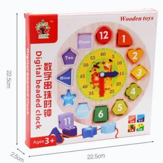 Đồ chơi Montessori đồng hồ xâu dây học chữ số bằng Tiếng Anh