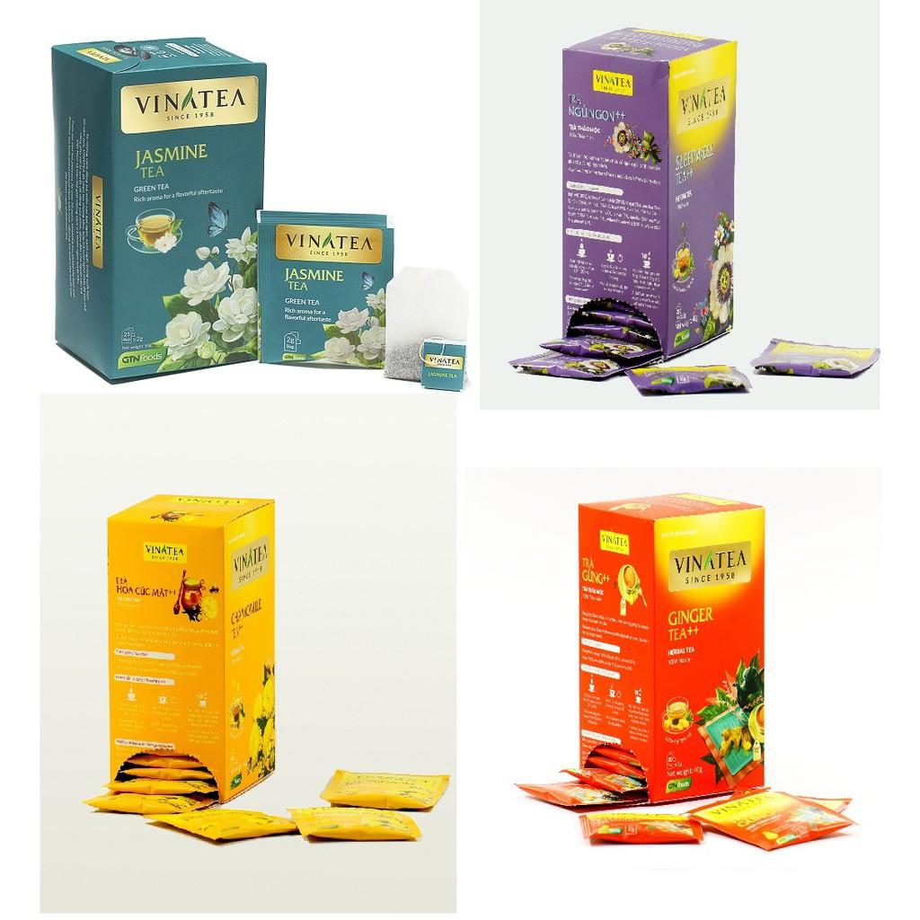 Combo 4 hộp trà Vinatea nhiều loại (Trà nhài, Trà Ngủ Ngon, Cúc mật ong, Trà Gừng)