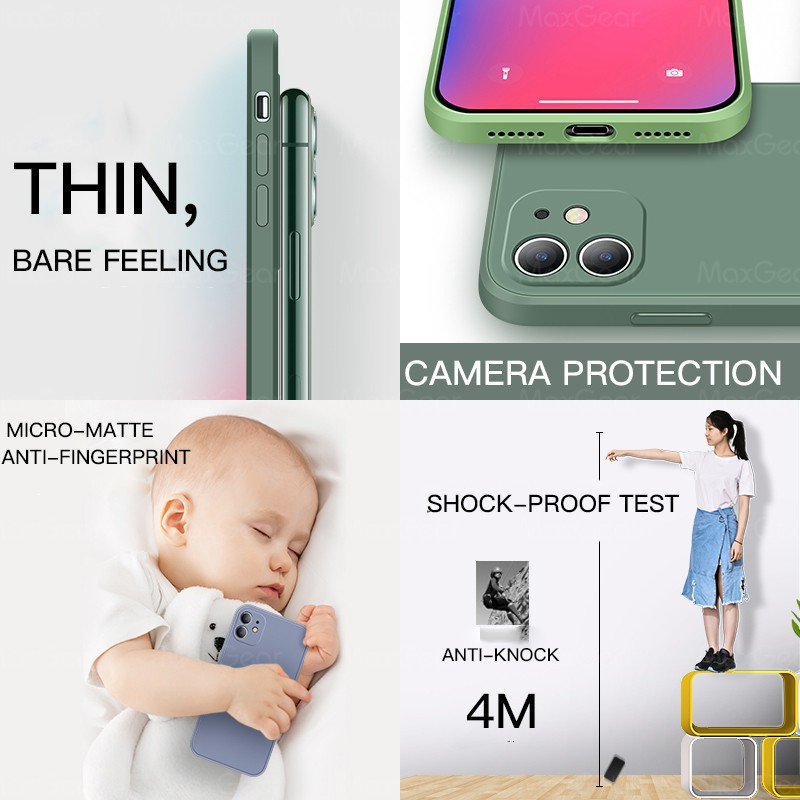 Ốp lưng silicon mềm chống va đập cho iPhone 12 11 Pro Max Mini X XR XS Max 7 8 6s Plus SE 2020