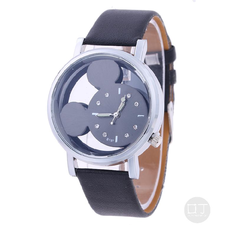 การ์ตูนมิกกี้เม้าส์นาฬิกาแฟชั่นผู้หญิงกลวง 115