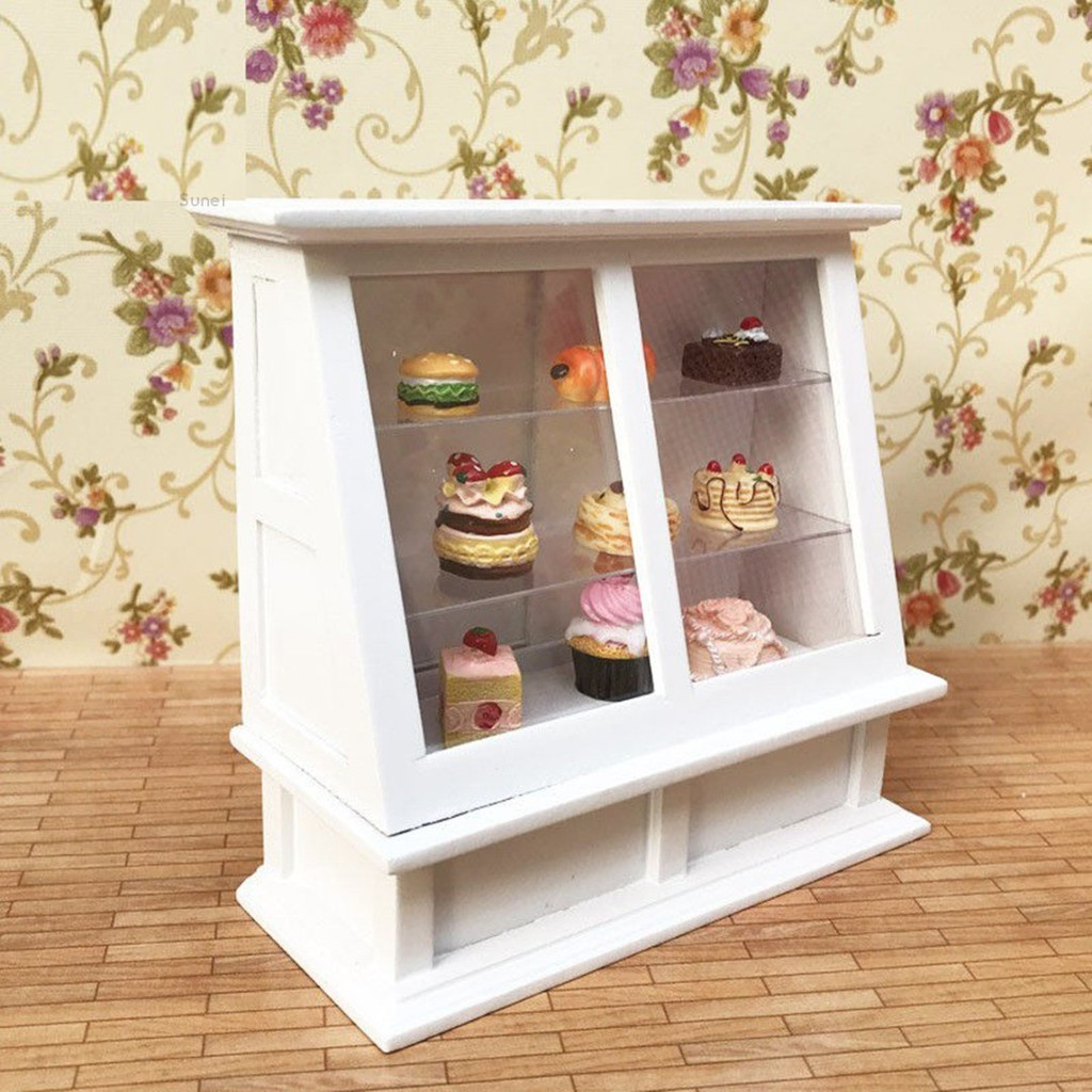 SuneiMiniature Wooden White Cake Display Showcase Display Cabinet For 1:12 Dollhouse