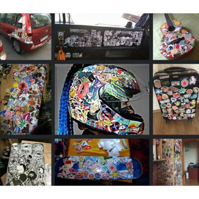 10 sticker dán vali, laptop, xe trang trí nhiều chủ đề