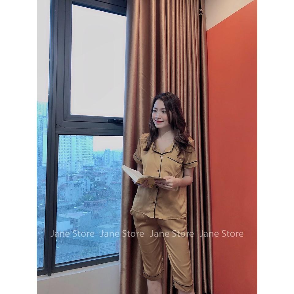 Bộ mặc nhà pyjama lụa cao cấp màu vàng - quần lửng