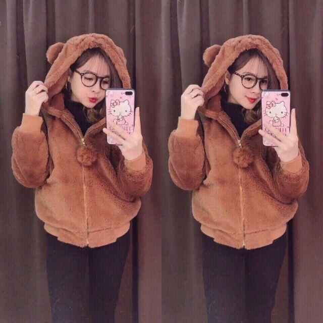 Áo khoác lông tai gấu hàng Quảng Châu