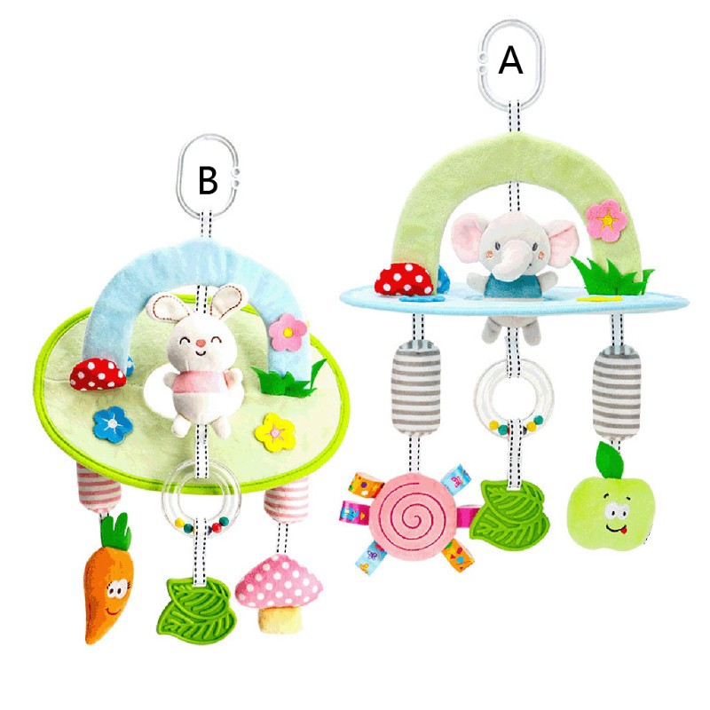 Baby Rattles Toddler Bed Hanging Toy Newborn Soft Bed Bell Animal Montessori Toy
