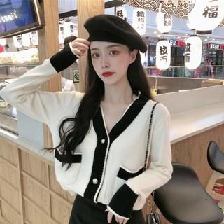 ■❈☄Áo len nữ dáng rộng cho mùa thu đông 2020 mới thời trang phương tây đen cổ chữ V cardigan dệt kim hàng đầu -New