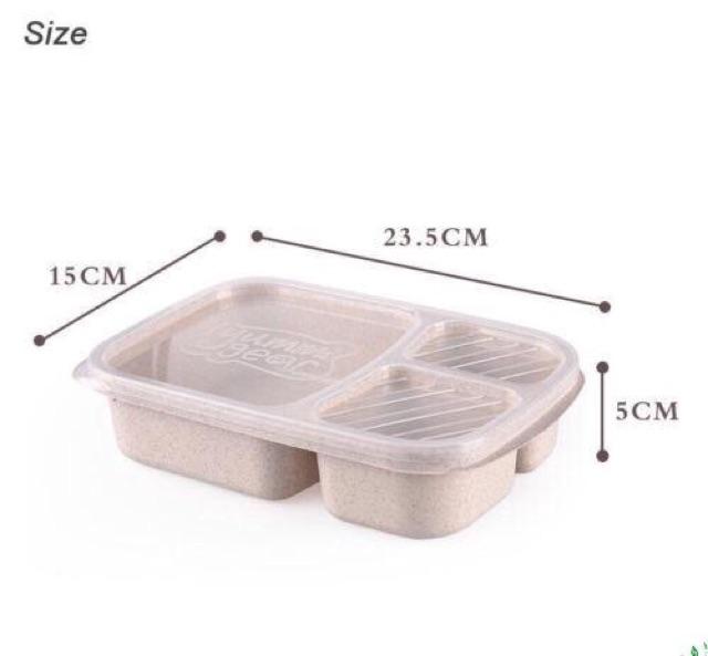 Hộp cơm bento ☘️freeship☘️khay nhựa lúa mạch 3 ngăn văn phòng