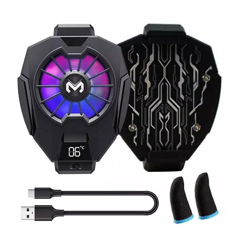 Quạt tản nhiệt Memo DL05 – Có màn hình hiển thị nhiệt độ và Led RGB siêu đẹp 700Mah – Tặng kèm găng tay cảm ứng
