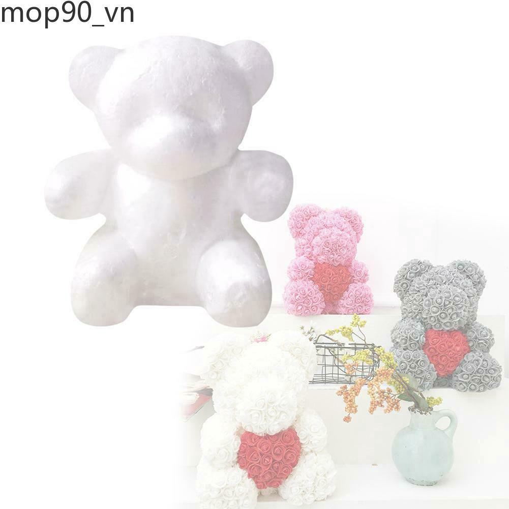 White Foam Bear Creative Handmade Flower Arrangement DIY Bubble Rose Bears