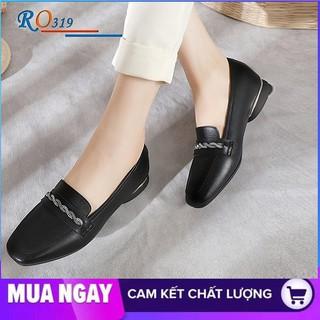Giày mọi nữ cao cấp đế cao 2cm hàng hiệu rosata hai màu đen kem ro319
