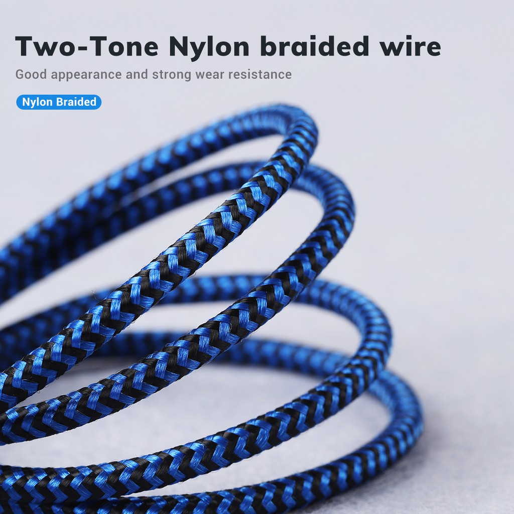 TOPK 1m Nylon Braided Data Sync Cord 3A Type-c Cable For Xiaomi Samsung