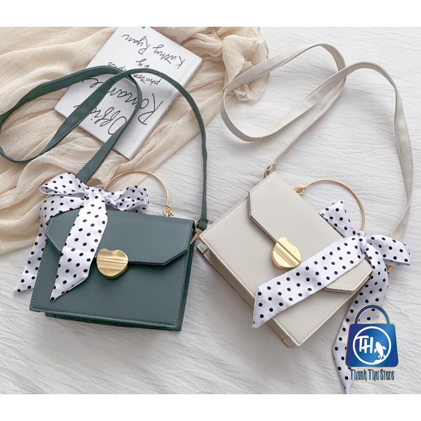 Túi nữ, túi xách tay Hàn Quốc khóa vàng tặng kèm khăn BH 387