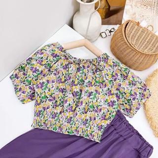 Sét bộ bé gái áo hoa chun + quần bom cho bé