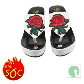 Giày đế xuồng đẹp giá rẻ thêu hoa hồng - cao 9 cm (phân) với quai xỏ ngón - NMH-106-HH9p (Trắng đen)