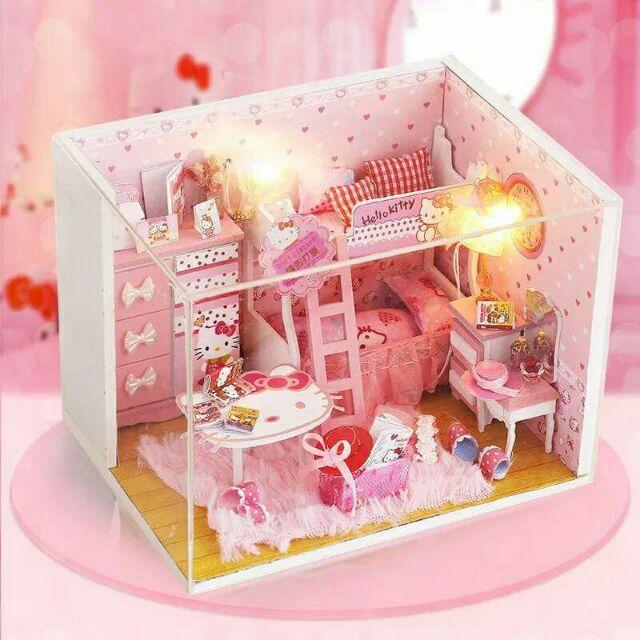 Mô hình nhà gỗ búp bê dollhouse DIY – Q003 Kitty Room