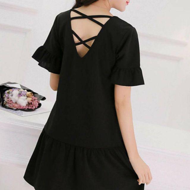 Đầm đen đan dây sau (kèm hình thật)