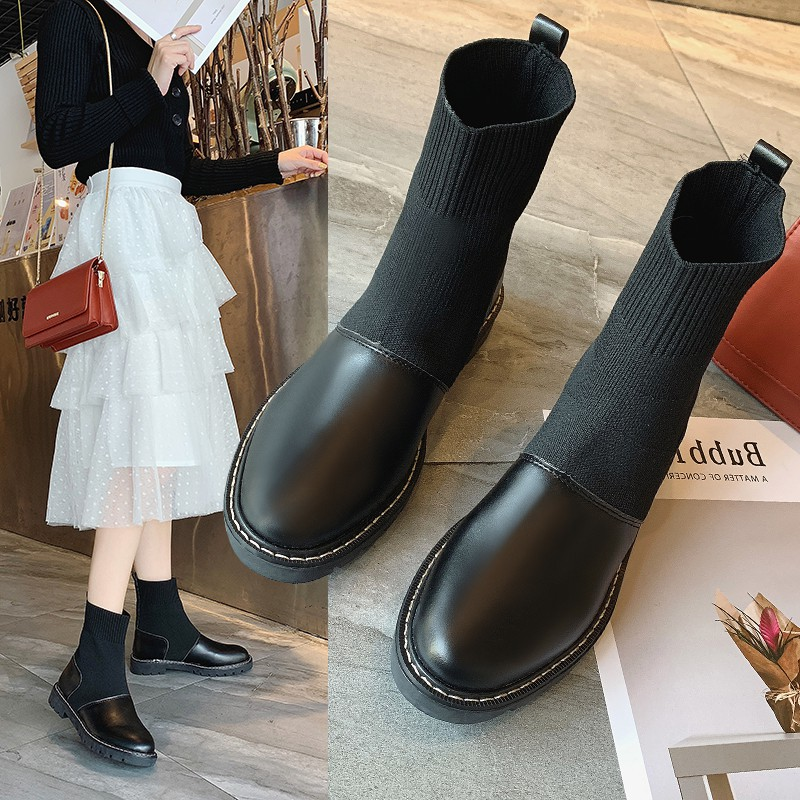 【จัดส่งฟรี】019 แฟชั่นเกาหลีใหม่รองเท้าบางแบนนางฟ้าแขนยืดหยุ่นถุงเท้ารองเท้าหัวกลม