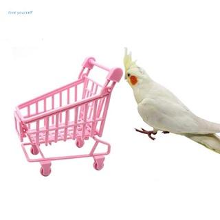 Đồ chơi giá đỡ xe đẩy màu hồng hỗ trợ luyện tập cho chim vẹt thumbnail