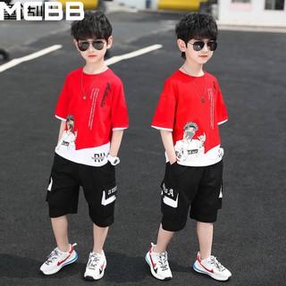 MCBB – Màu Đỏ 7-68 Kg – Bộ Áo Cộc Tay Bé Trai Và Ba Áo Phông Quần Lửng Túi Hộp Hip Hop Estudio Quần Áo Bé Trai Nam BQS26