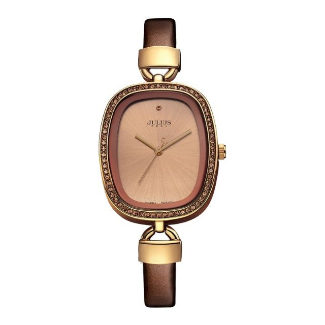 [Mã WTCHMALL8 giảm 15% đơn 0đ] Đồng hồ nữ Julius Hàn Quốc JA-298E dây da mặt chữ nhật (Nâu)